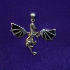 SilverDragon pendant with black enamel